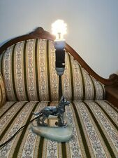 Antique vintage Marble Art lamp with metal heavy dog.  Pickup welcome.