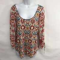 Lucky Brand Womens Pullover Top Size M Medium Multicolored 3/4 Tie Sleeve