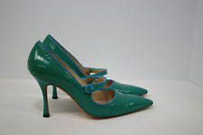 Manolo Blahnik Green Patent Leather Mary Jane High Heel Pumps Shoes 38.5 8.5
