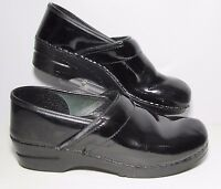 Women's Dansko Black Patent Leather Clogs Size 41 US 10.5-11