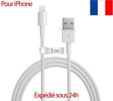 CHARGEUR POUR IPHONE 7 - 6 6S PLUS SE 5S 5 CÂBLE USB DATA SYNCHRO LONG 3 MÈTRES