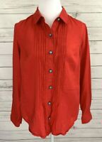 Jones New York Linen Top Womens Medium M Red Solid Button Roll Tab Long Sleeve