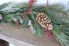 SALE **  Primitive Country RUSTIC LONG PINE GARLAND Berries 5 ft Christmas Snow