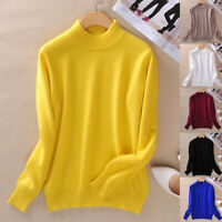 Women's Slim Soft Knitted Half-Turtleneck Cashmere Wool Jumper Pullover Sweaters