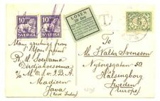DUTCH INDIES NED INDIE INDONESIA 1929 PPC -POSTAGE DUE - TO SWEDEN --F/VF