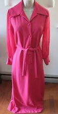 Vintage 60's Sandy Lane Polyester Maxi Dress~Pink~Sheer Long Sleeves~Sz S/M~Belt