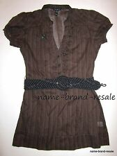 FANG NWT Juniors SMALL Brown BELTED V-Neck Tunic Top Shirt Blouse Sexy NEW