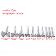 10pc 14-50mm Forstner Drill Bit Set Hole Saw Cutter Woodworking Wood Boring JS
