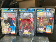 Toy Biz Marvel Legends Lot - HULK BUSTER, WAR MACHINE, IRON MAN w/ comic book