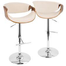 OPEN BOX Curvo Mid-Century Modern Adjustable Barstool with Swivel in Walnut a...