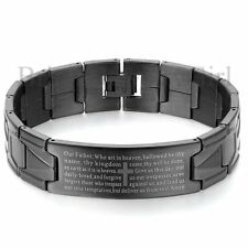 "8.3"" Mens English Bible Prayer Cross Stainless Steel Cuff Bangle Bracelet*16MM"