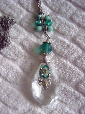 * PENDANT - CLEAR & TURQUOISE - SILVER COLOURED DOUBLE CHAIN - BEADS