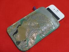 Japan iPhone 4 / 4s / 5 Case Cover Bag Smartphone Fabric Kimono Green Handmade