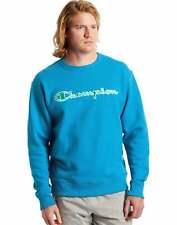 Champion Men's Sweatshirt Satin Stitch Logo Athletics Powerblend Crewneck Cotton
