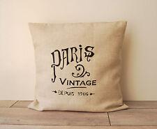 """Housse de coussin """"PARIS"""" décoration rustique et de charme SHABBY CHIC Vintage"""