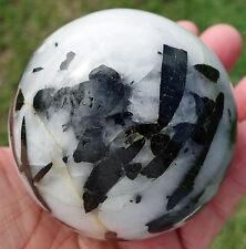 Green Tourmaline in Clear Quartz Crystal Sphere Ball Gem Stone Reiki