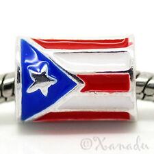 Puerto Rican Flag European Bead Cylindrical Puerto Rico Flag For Charm Bracelets