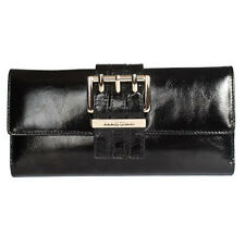 New Women Wallet Smooth Genuine Italian Leather Checkbook Wallet Card Bag Black