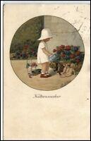 """Künstlerkarte 1927 """"Kaltwasserkur"""" Mädchen Kind begiesst Puppen mit Gieskanne"""