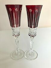 New Signed Faberge Xenia Ruby Red Champagne Glasses Flutes Set of 2