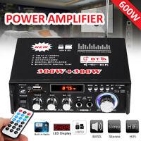600 Watts 110V 2CH Car HIFI Audio Stereo Power Amplifier bluetooth FM Radio Home