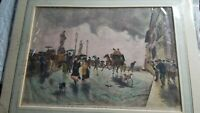 Antique Italian 1870 Chromolithograph Print Riora Street Scene Horse Carriage
