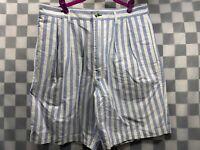 TOMMY HILFIGER Vertical Stripe Blue White Shorts Size 33
