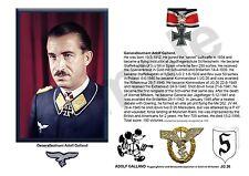 aviation art Luftwaffe pilot Adolf Galland JG 26 Knights Cross WW2 photo print