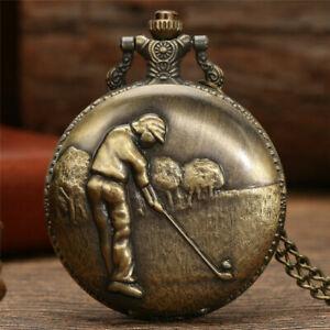 Bronze Golf Sport Man Vintage Retro Quartz Poket Watch Pendant Necklace Chain
