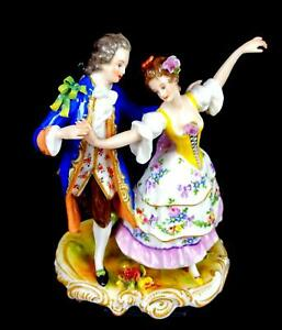 "VOLKSTEDT GERMAN PORCELAIN DANCING COUPLE FLORAL 6"" FIGURINE 1945-"