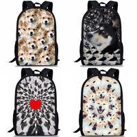 Funny Boston Terrier Husky Corgi Backpack Boys Girls Animal Book Bag Kid Satchel