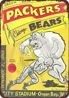 """1955 Green Bay Packers vs Chicago Bears Rustic Retro Metal Sign 8"""" x 12"""""""