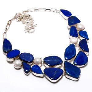 "Lapis Lazuli, Pearl Handmade Ethnic Style Jewelry Necklace 18"" LL"