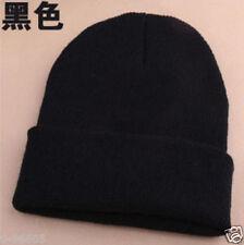 Men's Women Beanie Knit Ski Cap Hip-Hop Blank Color Winter Warm Unisex Hat