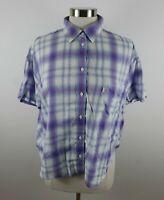 Levis Womens Cotton SS Button Up Blue Orange White Plaid Blouse Shirt Medium