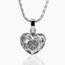 SALE 18K RGP White Gold Plated Heart Crystal CZ Hollow Love Pendant & Necklace