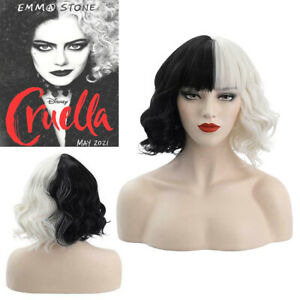 Cruella de Vil Emma Black White Curly Hair Wig Halloween Cosplay Party Lady Wigs