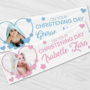 2 x Personalised Photo Christening / Baptism Banner - Banners All Occasions