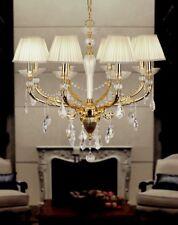 Lampadario classico 8 luci in metallo oro e cristallo coll. Dese 7215/8