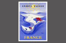Skiing France WINDING TRAIL Vintage 1954 French Alps POSTER Reprint by Villemot