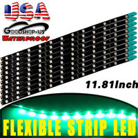 Green 10 X  5050 Waterproof 30CM LED Car Motor Truck Flexible Strip Light 12V US