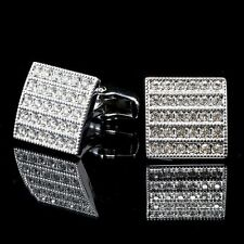 New Stainless Steel Silver Vintage Men's Wedding Gift Crystal Cuff Links A12
