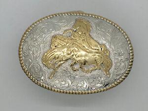 Vintage Crumrine Belt Buckle Wild Stallions Horses Western Cowboy