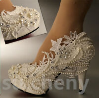 "su.cheny 3"" 4 "" heel white ivory lace pearls Wedding shoes pumps bride size 5-11"