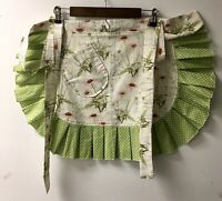 Handmade apron Woman's Apron Floral Pocket Ruffled Lined Long Wrap Ties