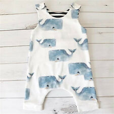 Newborn Kid Baby Boy Girl Bodysuit Romper Jumpsuit Shark Outfits Set Clothes UK