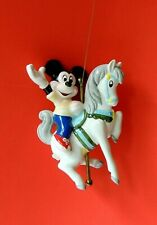 Vtg Schmid Walt Disney Mickey Mouse Riding Carousel Horse Christmas Ornament