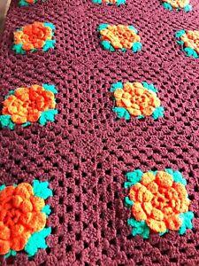 """Handmade Vintage Rosette Crochet Afghan Throw Blanket Brown/Orange 63"""" x 87"""""""
