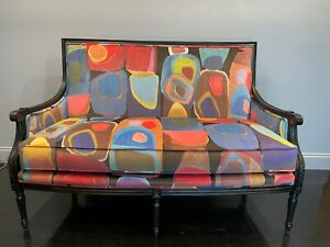 """Massoud French Settee with Carlucci di Chivasso """"Paintbox"""" Velvet"""