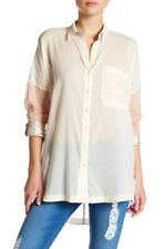 Free People Rainbow Rays Shirt Top Women's Casual Buttondown Blouse L NEW 11532